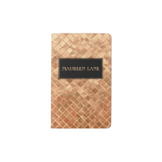Elegant Rose Gold Metallic Look Pattern Custom Pocket Moleskine Notebook