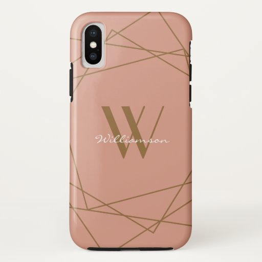 Elegant Rose Gold Monogram Geometric Pattern Name iPhone XS Case