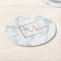 elegant rose gold monogram on white marble stone round paper coaster