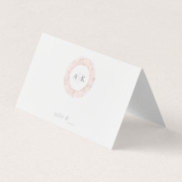 Professional Business Elegant rose gold monogram place cards - folded