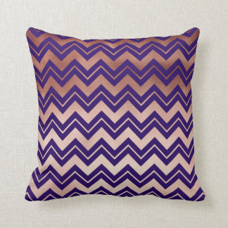 elegant rose gold navy blue chevron pattern throw pillow