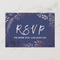 Elegant Rose Gold & Navy Wedding Website RSVP Card