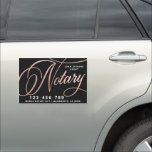 """Elegant Rose Gold Notary Loan Agent Car Magnet<br><div class=""""desc"""">Elegant,  trendy business car magnet for notary loan signing agent featuring  faux foil rose gold handwritten calligraphy script ''notary'' on a black background. Personalize with your details.</div>"""