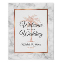 Elegant Rose Gold Palm Tree Marble Wedding Welcome Poster