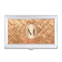 Elegant Rose Gold Pattern with Monogram Business Card Case