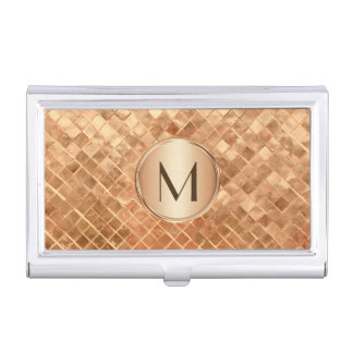 Elegant Rose Gold Pattern with Monogram Business Card Case