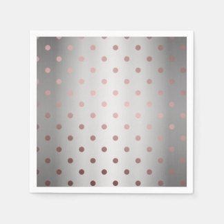 elegant rose gold silver polka dots napkin