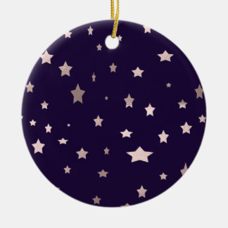 elegant rose gold stars on a purple background ceramic ornament