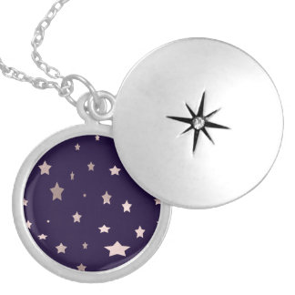 elegant rose gold stars on a purple background silver plated necklace