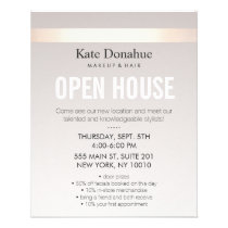 Elegant Rose Gold Striped Modern Open House Flyer