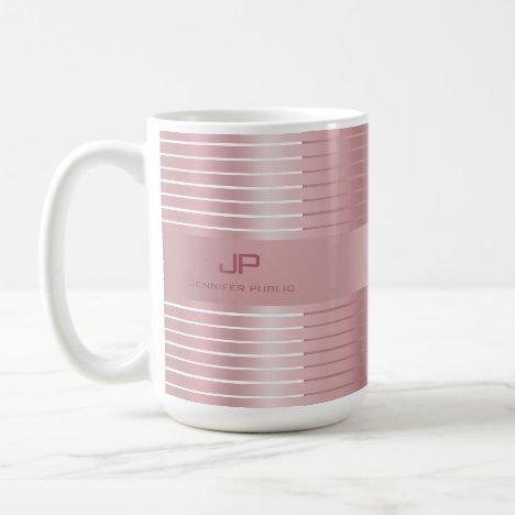 Elegant Rose Gold Template Monogram Trendy Modern Coffee Mug
