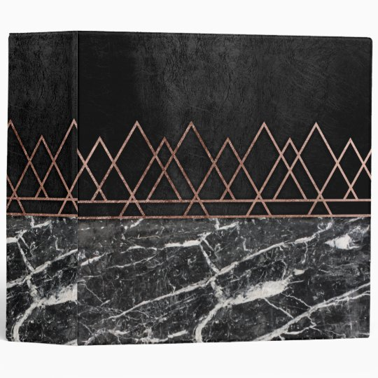 Elegant Rose Gold Triangles & Black & White Marble 3 Ring Binder