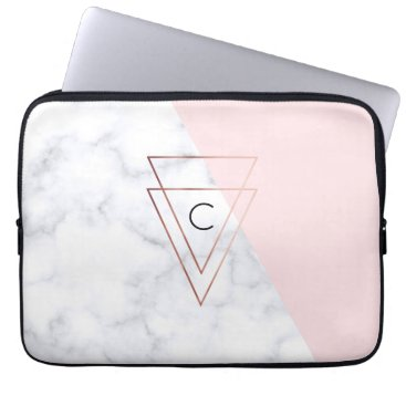 Beach Themed elegant rose gold triangles white marble pink computer sleeve