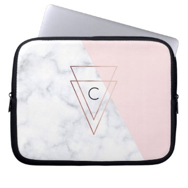 Beach Themed elegant rose gold triangles white marble pink laptop sleeve