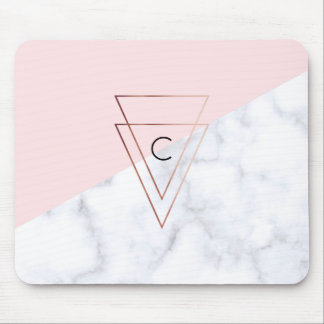 elegant rose gold triangles white marble pink mouse pad