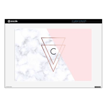 Beach Themed elegant rose gold triangles white marble pink skins for laptops