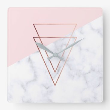Beach Themed elegant rose gold triangles white marble pink square wall clock