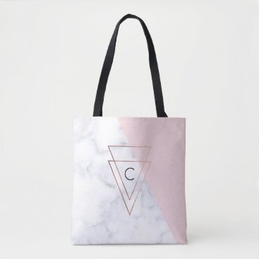 Beach Themed elegant rose gold triangles white marble pink tote bag