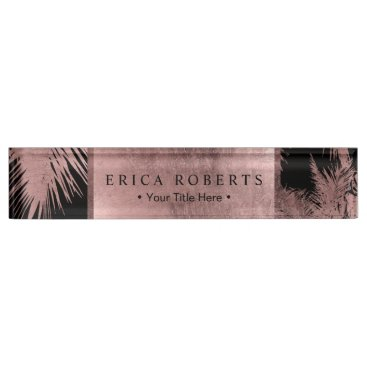 Lawyer Themed Elegant Rose Gold Tropical Palm Tree Modern Nameplate