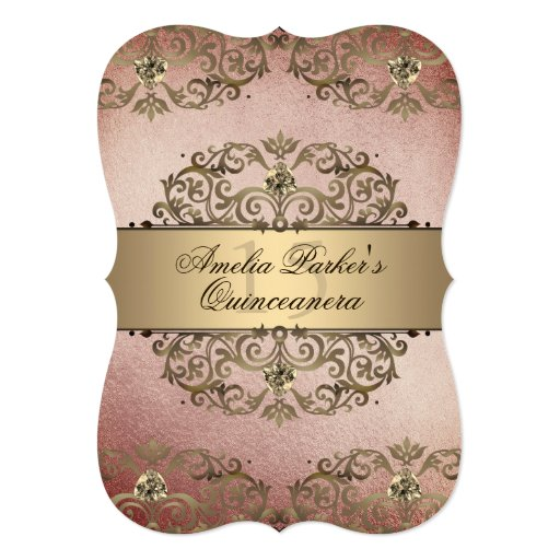 Elegant Rose Gold Vintage Damask Quinceanera Invitation