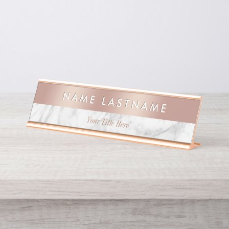 Elegant Rose Gold White Grey Marble Modern Custom Desk Name Plate