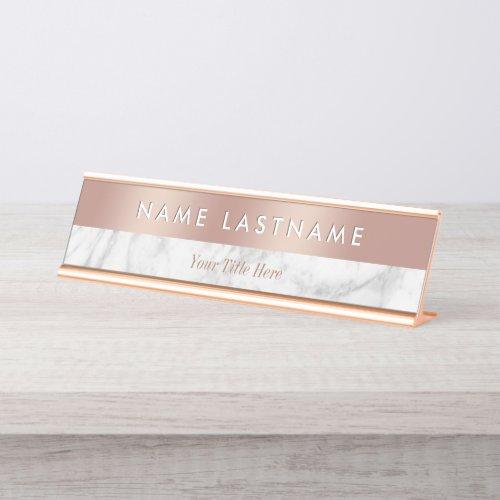 Elegant Rose Gold White Grey Marble Modern Custom Desk Name Plate