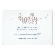 Elegant Rose Pink Calligraphy Wedding Website Rsvp Card at Zazzle