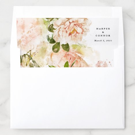Elegant Rose Romance Wedding Envelope Liner