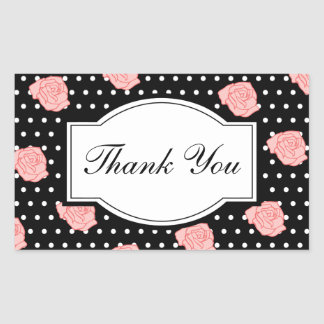 Elegant Rose Thank You Stickers