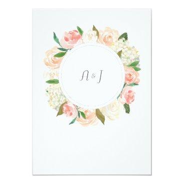 Beach Themed Elegant rose wreath wedding invitation card