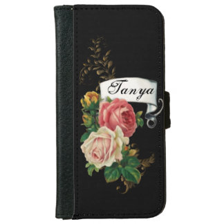 Elegant Roses and Gold Leaves Personalized iPhone 6/6s Wallet Case