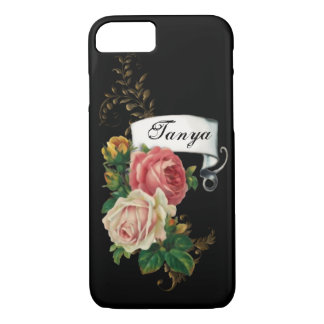 Elegant Roses and Gold Leaves Personalized iPhone 8/7 Case