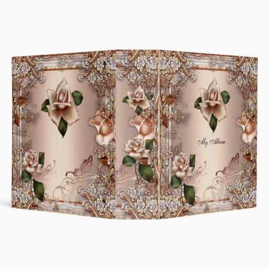 Elegant Roses Beige Cream Gold Butterfly Floral 3 Ring Binder