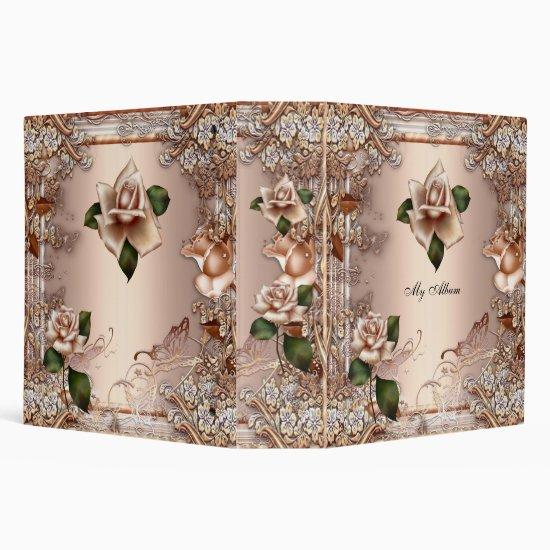Elegant Roses Beige Cream Gold Butterfly Floral 3 Ring Binder
