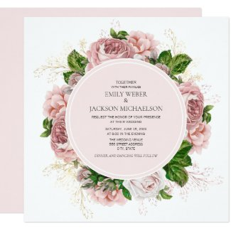 Elegant Roses Blush Pink Floral White Wedding Invitation