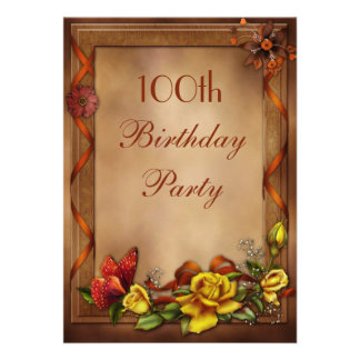 Elegant Roses Butterfly 100th Birthday Party Personalized Invitations