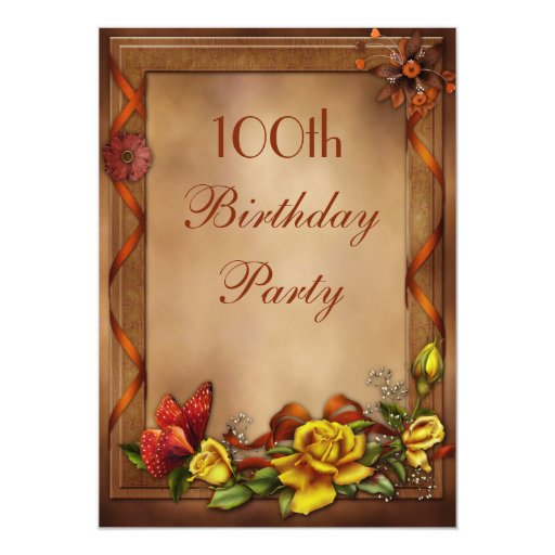 elegant roses  u0026 butterfly 100th birthday party 5x7 paper invitation card