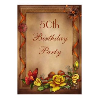 Elegant Roses Butterfly 50th Birthday Party Invitation