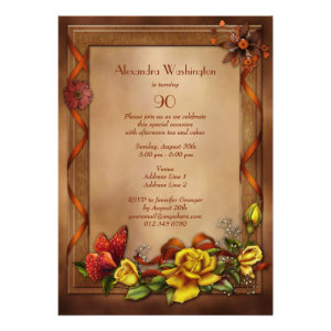 Elegant Roses & Butterfly 90th Birthday Party Personalized Invitations