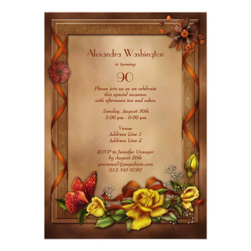 Elegant Roses & Butterfly 90th Birthday Party Personalized Invitations (back side)