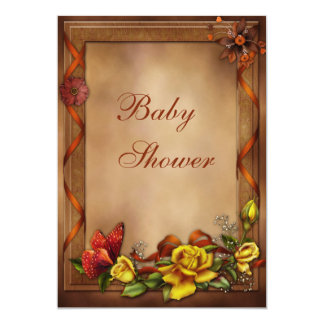 Elegant Roses & Butterfly Baby Shower Card