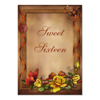 "Elegant Roses & Butterfly Sweet 16 5"" X 7"" Invitation Card"