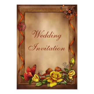 Elegant Roses & Butterfly Wedding 5x7 Paper Invitation Card