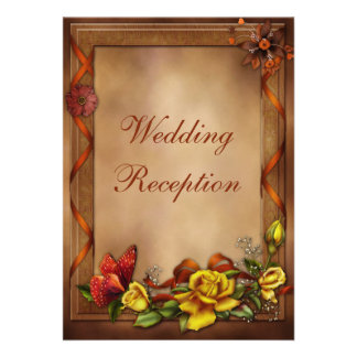Elegant Roses & Butterfly Wedding Reception Only Personalized Invitations