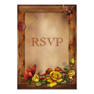 Elegant Roses & Butterfly Wedding RSVP Card