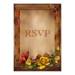 Elegant Roses & Butterfly Wedding RSVP 3.5x5 Paper Invitation Card