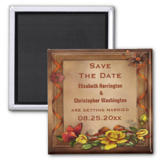 Elegant Roses & Butterfly Wedding Save the Date 2 Inch Square Magnet