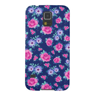 Elegant Roses Floral Pink Purple Blue Pattern Galaxy S5 Covers