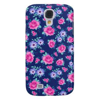 Elegant Roses Floral Pink Purple Blue Pattern Galaxy S4 Case