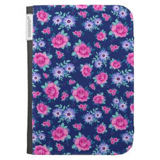 Elegant Roses Floral Pink Purple Blue Pattern Kindle Folio Case
